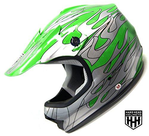 SmartDealsNow - HHH DOT Youth & Kids Helmet for Dirtbike ATV Motocross MX Offroad Motorcyle Street bike GREEN FLAME ()