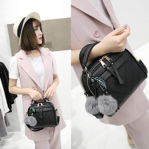de Teenager Bolso Hairball Crossbody Girls de PU Messenger hombro la Lady Bags de cuero las de de moda mujeres de Bolso Bolsa CxvC6P