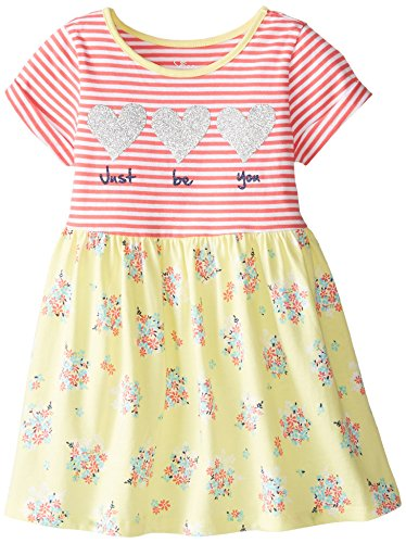 The Children's Place Little Girls' Short Sleeve Be You Knit Dress, Shore Coral, 3T
