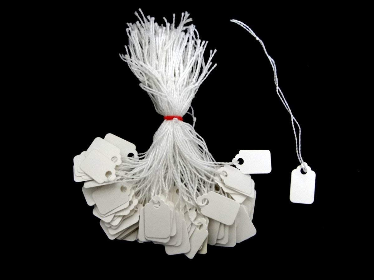 Ivy White Strung Tags 24mm x 15mm Jewellery Price Tags Tie On Labels 300 Pack