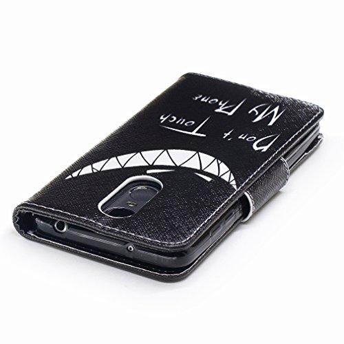 Yiizy Huawei Enjoy 6 Custodia Cover, Denti Sorridono Design Sottile Flip Portafoglio PU Pelle Cuoio Copertura Shell Case Slot Schede Cavalletto Stile Libro Bumper Protettivo Borsa