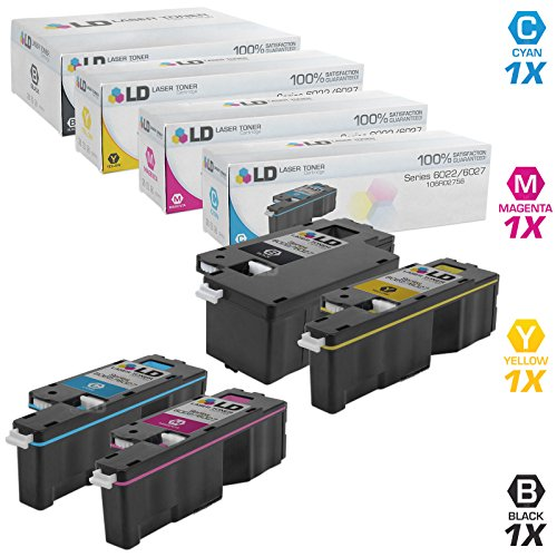 LD Compatible Toner Cartridge Replacements for Xerox Phaser 6022 & WorkCentre 6027 (1 Black, 1 Cyan, 1 Magenta, 1 Yellow, 4-Pack) ()