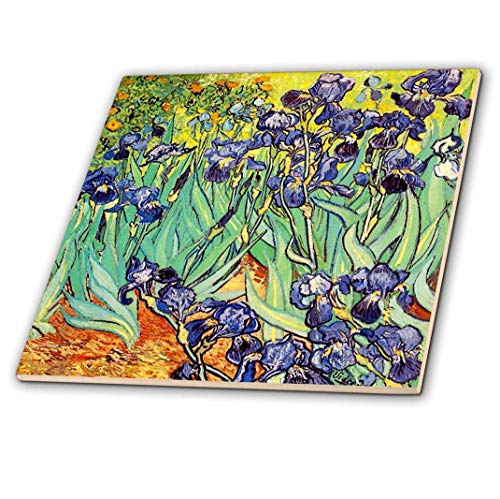 3dRose 3D Rose Irises by Vincent Van Gogh 1889-purple Flowers iris Garden-Copy of Famous Painting by The Master-Ceramic Tile, 12