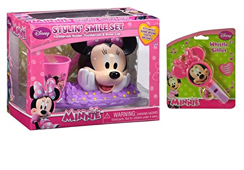 DIsney Jr. Minnie Mouse Bow-Tique 3pc Dental Hygiene Stylin' Smile Bathroom Beauty Set! Plus Bonus Minnie Stocking Stuffer Heart Shaped Whistle!