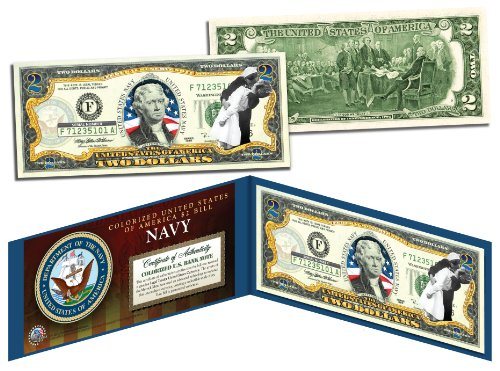 (US NAVY WWII Vintage Genuine Legal Tender Colorized U.S. $2 Bill)