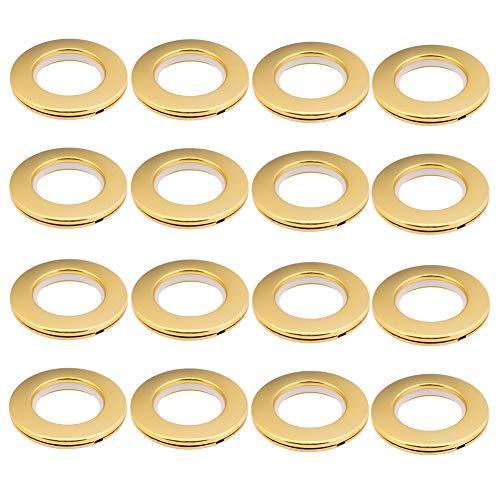 LANDGOO Curtain Grommets 1-9/16 Inch Inner Diameter Polish Gold 16 Pair