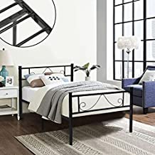 Green Forest Twin Size Metal Bed Frame with Stable Metal Slats Stable Headboard/Black