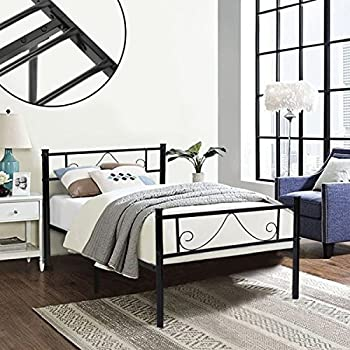 GreenForest Twin Size Metal Bed Frame with Stable Metal Slats Stable  Headboard Black. Amazon com  DHP Bombay Metal Bed Frame  Vintage Design and