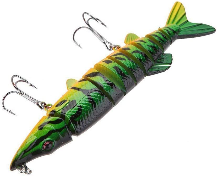 Fishing Bass Lure Multi Jointed Artificial Bait Segment Lifelike Fish Hard Crankbait Treble Hooks