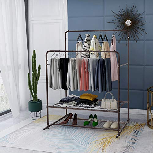 Garment Rack Metal Clothing Racks Heavy Duty Double Rail Clothes Rack Organizer 2-Tier Storage Shelf for Boxes Shoes Boots Commercial Grade Multi-Purpose Portable Entryway Shelving Home Bedroom Bronze ()
