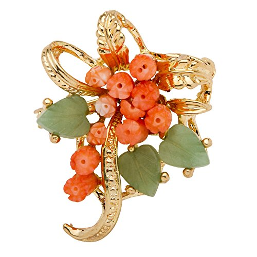 Palm Beach Jewelry Genuine Orange Coral and Green Agate Yellow Gold Tone Bouquet Pin - Jade Brooch Pin