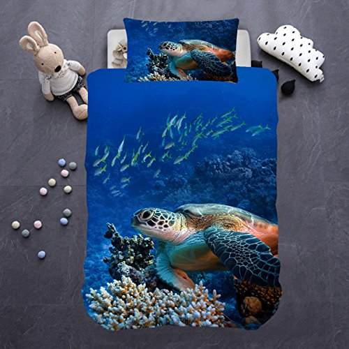 ARIGHTEX Turtle Bed Cover Set 3d Coral Fish Deep Sea Blue Duvet Cover 2 Piece Sea Life Bedding Teen Kid Bedspreads (Single)