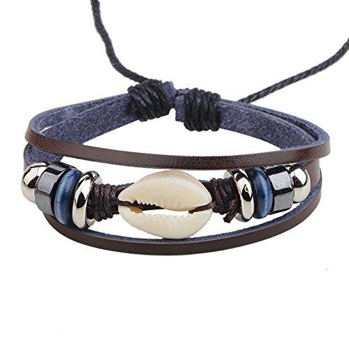 CHUYUN Vintage Seashells Leather Bracelet With Beads, Fancy Women Men Bracelet (Seashell Bead Bracelet)
