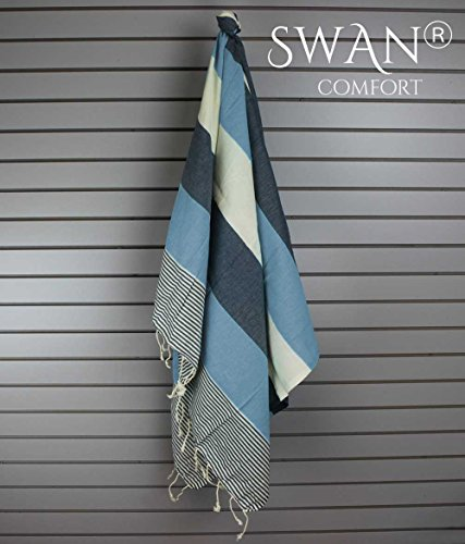 Swan Comfort 100% Natural Turkish Cotton Absorbent Beach Towel, Easy Care Ideal for Bath Spa Fitness Yoga Pool Yatch…