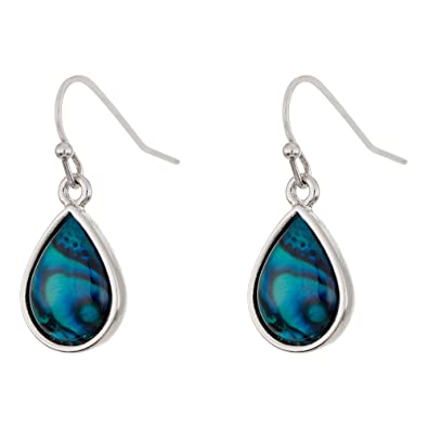 Paua Shell Natural Abalone Raindrop Drop Earrings, rhodium plated in delicate blue/green (P359)