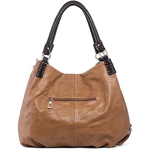 Handle Purse Satchel Double Handbags Crossbody Leather Fashion women Camel for Shoulder Bags WISHESGEM PU YgqwB0g7