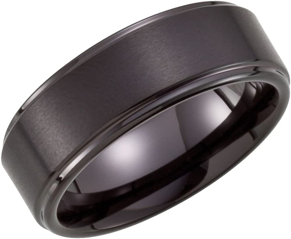 Jewels By Lux Tungsten 8mm Ridged Wedding Ring Band with Black PVD