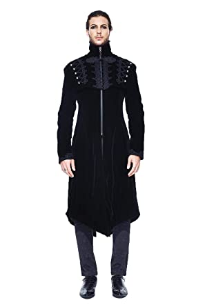 Devil Fashion Mens Automne Hiver Gothique Victorien Vintage Manteau  Gentilhomme Noir Rouge Queue d aronde 0fd7d8fac52