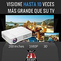 Proyector Full HD 1080P Luximagen HD1100 (1920 x 1080) Cine en Casa con Corrección Digital, Android 6.0, AC3, Muy silencioso y portatil Incluye ...