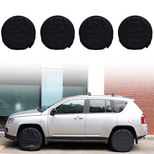 Heavy Canvas Duty Cover Wheel (NEVERLAND Tire Covers, Heavy Duty Waterproof Oxford Cloth Fabric Tire Sun Protectors, Fits 27