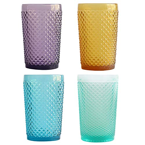 Glassware Set of 4 Multicolor Tumblers Drinking Glasses Cocktail Glasses Dinner Party Decor 13 oz(JM-728, 4)