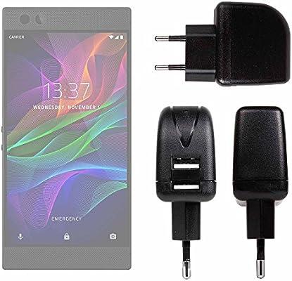 DURAGADGET Cargador con Enchufe Europeo para Smartphone Razer Phone/Nokia 2- con Doble Entrada USB: Amazon.es: Electrónica