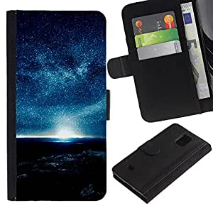 Samsung Galaxy S5 Mini / SM-G800 (Not For S5!!!) , la tarjeta de Crédito Slots PU Funda de cuero Monedero caso cubierta de piel ( Blue Planet Atmosphere Night Sky Stars Sun)