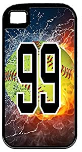 Flaming Softball Sports Fan Player Number 99 Black Rubber Hybrid Tough Case Decorative iphone 5c Case