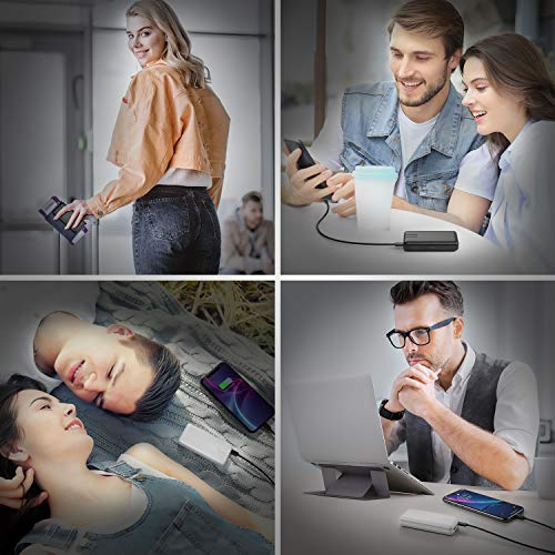 IEsafy Powerbank 2 Stücke Mini Power Bank 10000mAh Externer Akku mit 2.4A Input und Output USB C Eingang Schnelles Aufladen Tragbares Ladegerät für iPhone, iPad, Huawei, Samsung, Xiaomi und Mehr