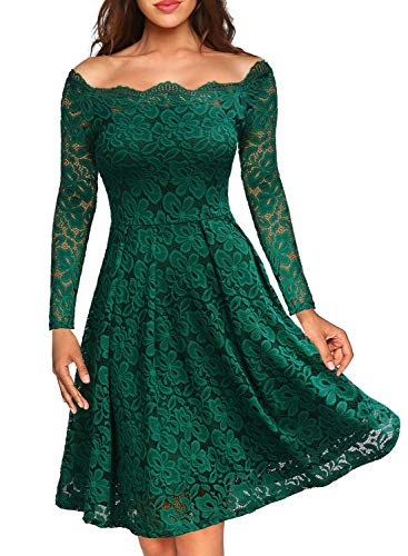 (MISSMAY Women's Vintage Floral Lace Long Sleeve Boat Neck Cocktail Formal Swing Dress (XX-Large, C-Green))