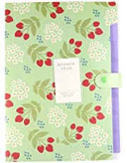 Expanding File Folders 8 Pockets, Floral According Document Folder Organizer Letter A4 Paper Size,Expandable File Folder for School and Office(Green)
