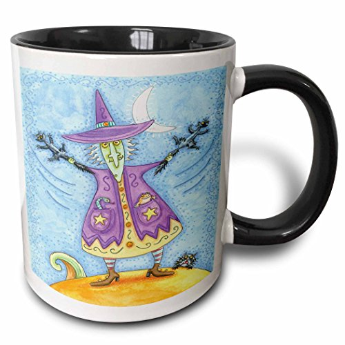 3dRose Anne Marie Baugh - Halloween - Halloween Witch With Screeching Cat In Each Hand Illustration - 15oz Two-Tone Black Mug (mug_216762_9)]()