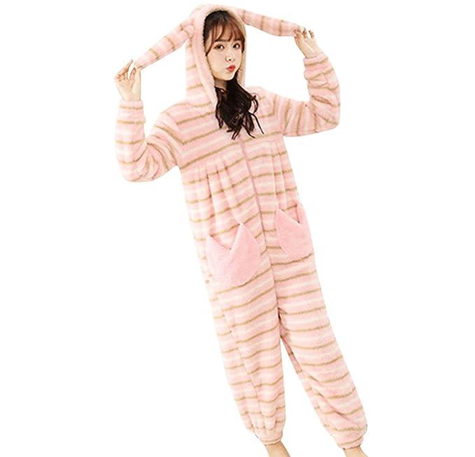 WanYang Mujeres De Invierno Casual Y Cómodo Ropa De Hogar Jumpsuit Pijamas Con Capucha Para Mujer: Amazon.es: Ropa y accesorios