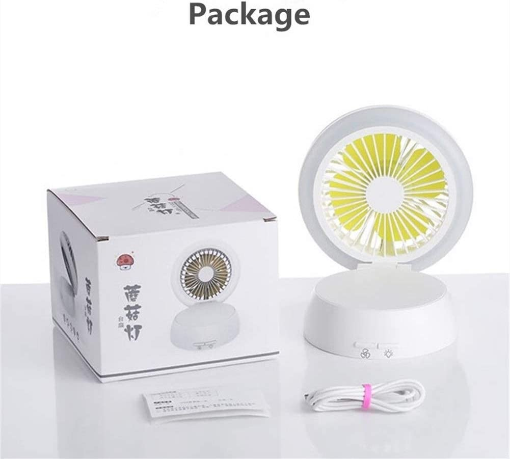 Office Shengjuanfeng USB Fans Mushroom Portable Mini Fan Handheld USB Rechargeable Air Cooling Desktop Fan with LED Night Light Makeup for Home Outdoor Travel Color : Black