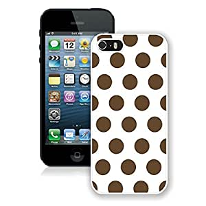 BINGO cheap Polka Dot White and Dark Brown iPhone 5 5S Case White Cover