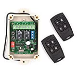 Solidremote 12V - 24V Secure Wireless RF Remote Control Relay Switch Universal 2-Channel 433Mhz Receiver with 2 FCC ID Transmitters for Garage Door Openers, LED Lights & More (KIT-1)