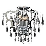 Cheap Worldwide Lighting Henna Collection 6 Light Chrome Finish Crystal Flush Mount Ceiling Light 16″ D x 14″ H Medium