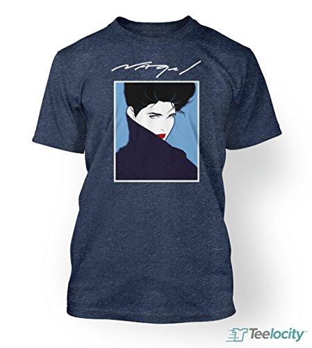 Teelocity:Patrick Nagel T-Shirt. Unisex Short Sleeve Printed Tee Small Navy