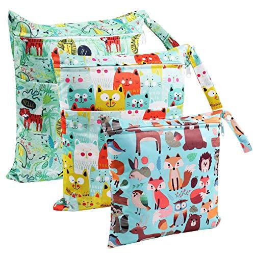 Wet Dry Bag, 3Pcs Diaper Bag Waterproof Reusable Washable Diaper Organizer Cloth (2L+1M)