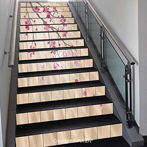 - PUTIEN Unique Stair Stickers Wall Stickers,13 PCS Self-Adhesive [ House Decor,Spring Cherry Twig Falling Pe