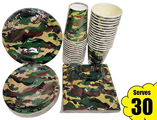 Serves 30 | Complete Party Pack | Camouflage Party Supplies | 9