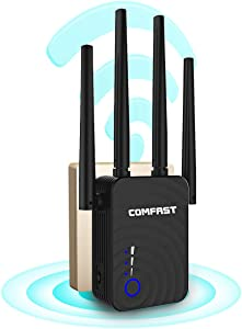 WiFi Extender 5GHz 1200Mbps WiFi Booster, Covers 1500Sq.ft, Wireless WiFi Range Repeater for Home WiFi - Router Extender, 4 Working Modes