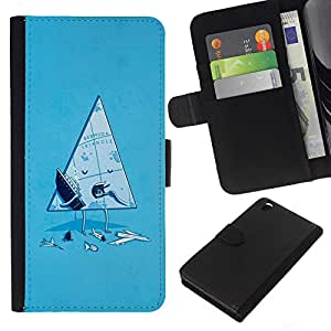 Planetar® Colorful Pattern Flip Wallet Leather Holster Protective Skin Case Cover For HTC DESIRE 816 ( Funny Bermuda Triangle )