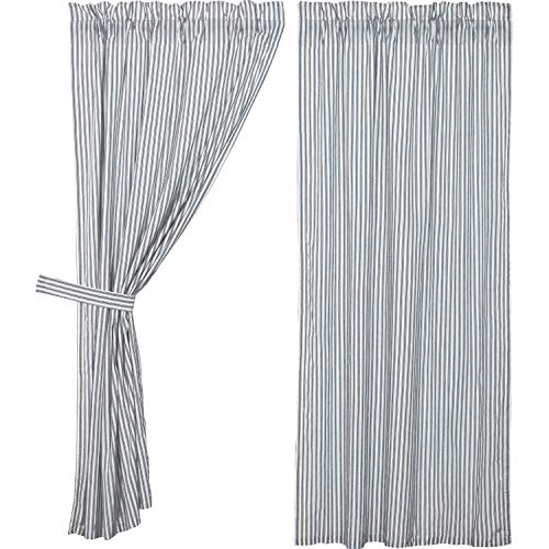 (VHC Brands Farmhouse Curtains Sawyer Mill Ticking Rod Pocket Cotton Tie Back(s) Striped Panel Pair Blue Denim)