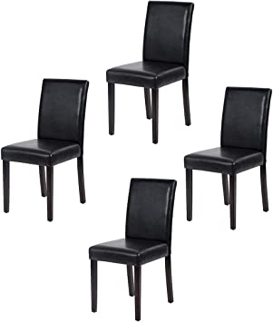 Amazon Com Dining Chairs Dining Room Chairs Parsons Set Of 4 Dining Side Chairs For Home Kitchen Living Room Leather Black Chairs