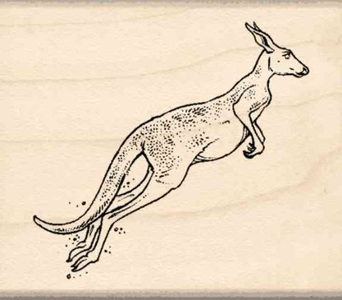 Kangaroo Rubber Stamp - 1-3/4 inches x 2 inches
