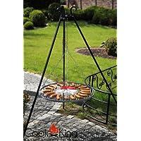 CookKing Holzkohlegrill schwarz XXL Charcoal Grill Garten ✔ rund dreieckig ✔ schwenkbar ✔ Grillen mit Holzkohle ✔ mit Dreibeinen