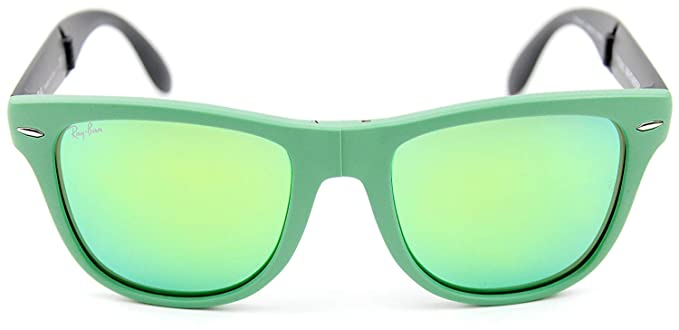 d2fee3000b19 Ray-Ban RB4105 602119 54mm Wayfarer Folding Green Frame   Crystal Mirror  Green Lenses Made