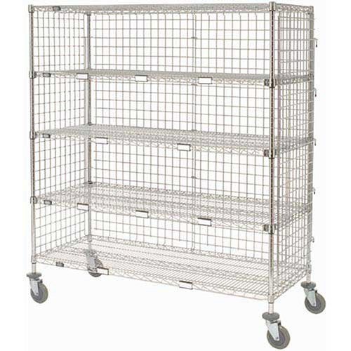 Enclosed Wire Exchange Truck 5 Wire Shelves 800 Lb. Cap, 36