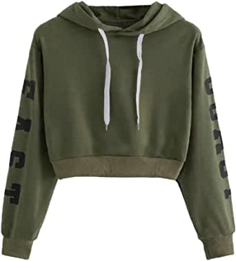 Teen Girls Hoodies Fashion Casual Long Sleeve Loose Pullover Sweatshirt Women's Letter Printed Crop Tops by Chaofanjiancai